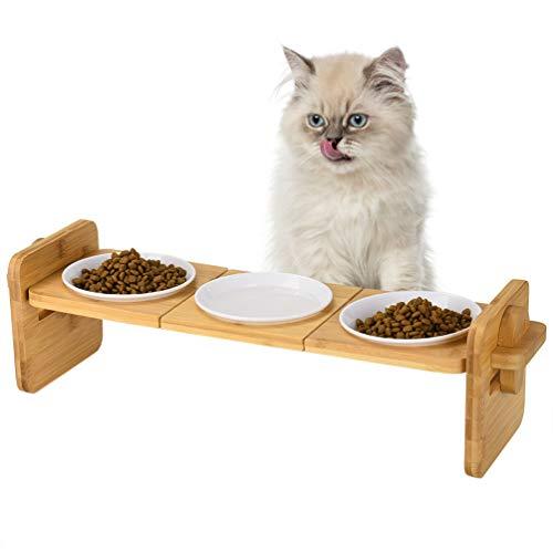 Petacc Katzennäpf Hundenäpf mit 3 Melaminschalen Hoch Futternäpfe für Katzen und Welpe mit Bambus Ständer, 2 Verwendungsmöglichkeiten