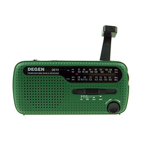 DZSJ Emergency Radio AM/FM/SW Solar Hand Crank Self Powered Weather Radio with LED Flashlight
