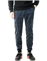 Allegra K Hommes Devant Plat Zip Fly Bas Élastique Plaids Tissés Pantalon Style Britannique