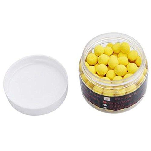 SODIAL 1 Box Riechen Pop up Fischkoeder Boilies Schwimmende Karpfen Koeder Loeslich in Wasser Gelb-Mais 14mm -