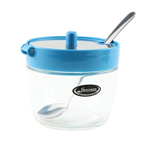 Piccolo zuccheriera, newness trasparente in vetro, acciaio inox e plastica zuccheriera con coperchio e cucchiaino da zucchero per casa e cucina, 210ml (209,5gram) blue, 210 milliliters(7.39 ounces)