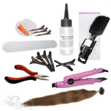 """RemyHaar.eu - Starter Set Haarverlängerung 76 Teile U-Tip 0,5g 60x Echthaar Strähnen Bonding Extensions Wärmezange Glatt - 45cm 18"""", 4#(Schokobraun)"""