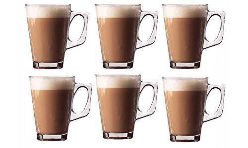 Kitchen Stars Set of 6 Premium Latte Glasses Mugs 240ml (8.8oz) - Perfect for Espresso, Cappuccino, Coffee, Tea, Hot Chocolate, Hot Drinks, Tassimo amp; Dolce Gusto Coffee Machines Presented by Kitchen Stars