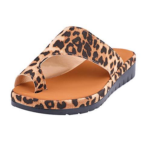 Sandalias Mujer Sandalias con Meseta Zapatos cómodos para la Playa Sandalias de Verano Alpargatas Elegantes para Mujeres con Sandalias de Punta Abierta Mujeres Hallux Valgus (35 EU, Leopardo)