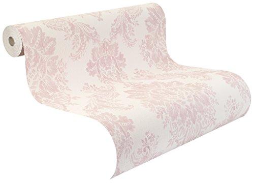 Rasch Tapeten Rasch Vinyl-Tapete auf Papier, rosa Ornamente auf weißem Grund mit textiler Struktur, Palace 2018, 516845 Pink