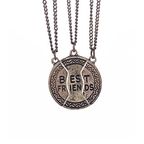 Beste Freund-Halsketten Für 3 Gold überzogene Disc-Anhänger-runde Weinlese-Charme-Freundschaft-Verbindung