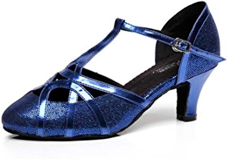 JSHOE Mujer Cerrado Punk Tacón Alto PU Cuero Brillo Salsa Tango Ballroom Latin T-Strap Dance Shoes,BlueHeeled8cm-UK7.5...