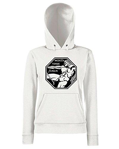 T-Shirtshock - Sweats a capuche Femme T0687 INCOCCA TENDE SCAGLIA gabriele d annunzio politica Blanc