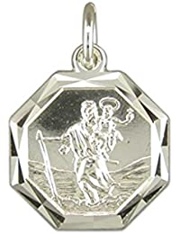 Sterling Silver Diamond Cut Octagonal St Christopher Pendant On A Snake Necklace
