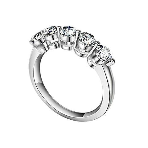 AMDXD Schmuck 925 Sterlingsilber Damen Maßgeschneidert Ringe (mit Gratis Gravur) 2-Klaue 5 Verbindung CZ Größe 61 (19.4)