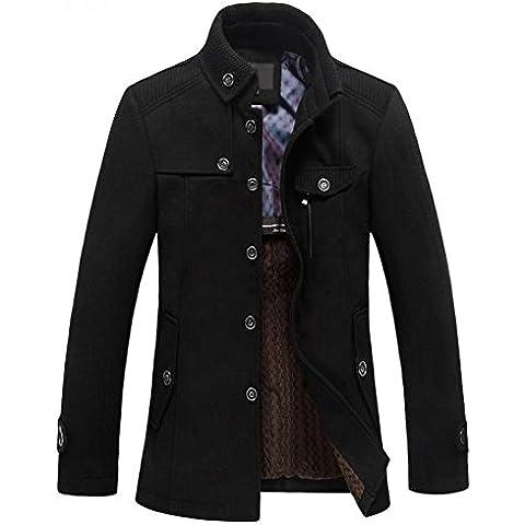 SODIAL (R) Caliente para hombre delgada invierno rompevientos abrigo largo de lana Negro - XXL