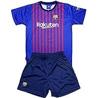 Conjunto Camiseta y Pantalon 1ª Equipación 2018-2019 FC. Barcelona - Réplica Oficial Licenciado - Dorsal Liso - NiñoTalla 4 años - Medidas Pecho 31.5 - Largo Total 46 - Largo Manga 13 cm.