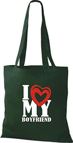 ShirtInStyle Shopper Valentinstag I Love My Boyfriend gruen