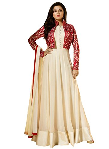 Clickedia Women\'s Heavy Georgette Semi Stitched Cream Floor Length Gown Style Anarkali With Red Embroidered Koti - Dress Material