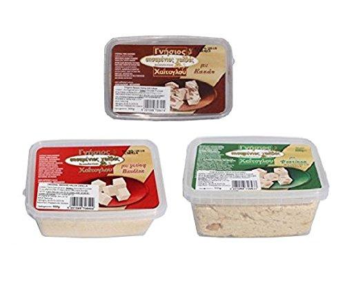 3x Halvas aus Sesam Halva Probier Paket Vanille Schoko Erdnuss je 500 gr (1500 gr) aus Griechenland griechischer Geschenk Set Halva Vanilla Cacao Peanut + Probiersachet 10 ml Olivenöl aus Kreta