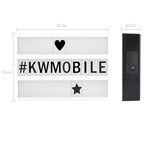 kwmobile cinema light box formato A5 - insegna luminosa con 126 lettere simboli numeri in nero - luci LED decorative - lampada cinematic lightbox - 3