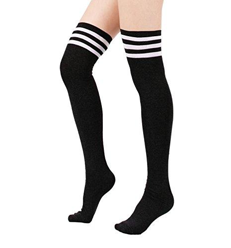 Azue Damen Frauen Über Knie-Lange Overknee Socken Gestreifte Sportsocken Dicht Baumwolle Kniestrümpfe Warm Strümpf Schwarz One Size (Denim-gestreifte Strumpfhose)