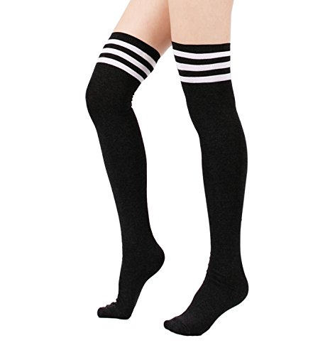 Azue Damen Frauen Über Knie-Lange Overknee Socken Gestreifte Sportsocken Dicht Baumwolle Kniestrümpfe Warm Strümpf Schwarz One Size (Strümpfe Choker)