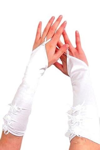 krautwear® Damen Handschuhe Spitze Ellenbogen Lang Abendhandschuhe Gerafft Braut Kurz Satin Schleife Schwarz Rot Weiss