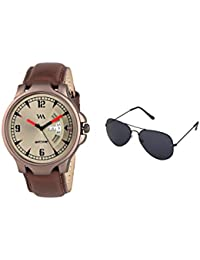 Watch Me Gift Combo Set Of Sunglasses And White Gold Dial Black Leather Strap Day And Date Collection Series Analog...