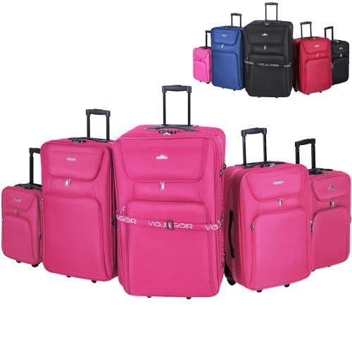 5 TLG. Trolleyset Kofferset Reisekoffer Handgepäck XXL, XL, L, M, S (Pink)