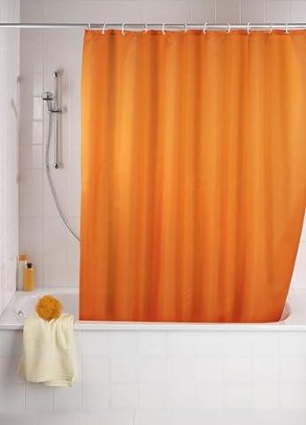 WENKO 20039100 Anti-Schimmel Duschvorhang Uni Orange - Anti-Bakteriell, waschbar, mit 12 Duschvorhangringen, 100 % Polyester,