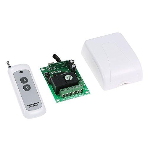 Festnight RF DC 12V 2CH 433 MHz Universal RF Wireless Fernbedienung Schalter, Intelligentes Zuhause Relais Empfänger Modul + Fernbedienungen Long Range 500M Dc 12v Wireless Remote