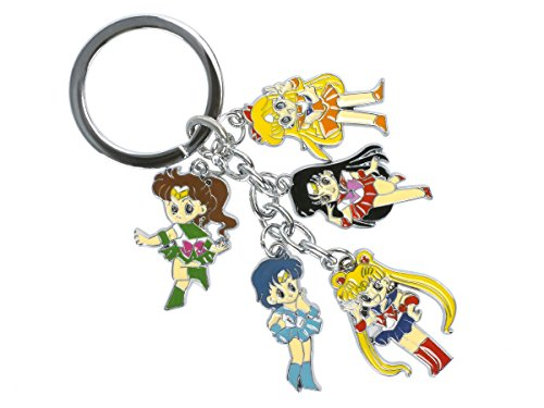 CoolChange Sailor Moon Schlüsselring mit 5 Chibi (Kostüm Jupiter Sailor)