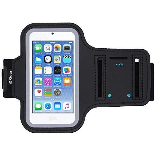i2 Gear Armband kompatibel mit iPod Touch 6. Generation (6G) Übung & Laufender MP3-Player - Armbandetui mit Schlüsselhalter und reflektierendem Band (schwarz) (Touch Halter Für Arbeiten Ipod)