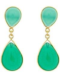 Córdoba Jewels | Pendientes en plata de Ley 925 bañada en oro. Diseño Duo Cute Esmeralda Oro