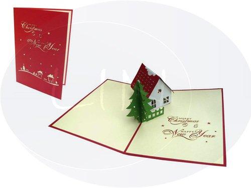 Carte de Noël pop-up 3D Noël Maison (# 414)