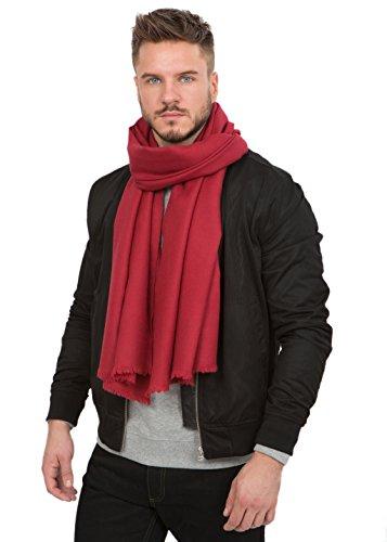 Grande écharpe mérinos sergée rouge