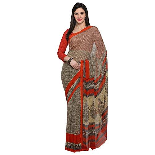 Oomph! Women's Chiffon Sarees Party Wear/Fancy Chiffon Sarees/Printed Chiffon Saree with Border