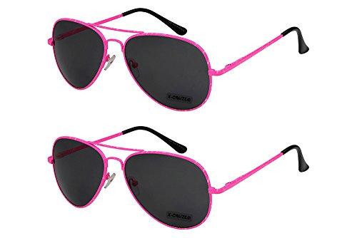 X-CRUZE 2er Pack X06 Klassische Pilotenbrille Fliegerbrille Spiegelbrille Nerdbrille Nerd Vintage Retro Sonnenbrille Brille - 1x Modell 5 (pink) und 1x Modell 5 (pink)