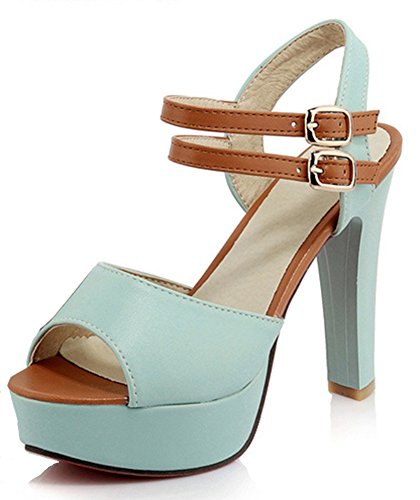 Aisun Damen Kontrastfarbe Plateau Toe Open Trichterabsatz Schnalle Sandalen  Blau
