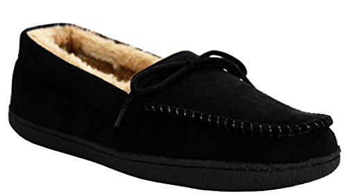 NEW MENS COMFORT FUR LINED LIGHTWEIGHT WARM WINTER FAUX MOCCASIN SLIPPER SHOES...
