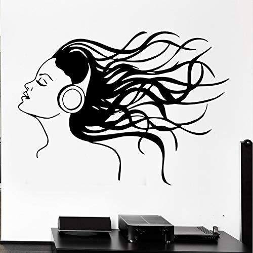 Kopfhörer Musik Haar Cool Wandtattoos Mädchen Rock Pop Song Wandaufkleber Für Teen Schlafzimmer Abnehmbare Kunstwandhauptdekor 42x57cm
