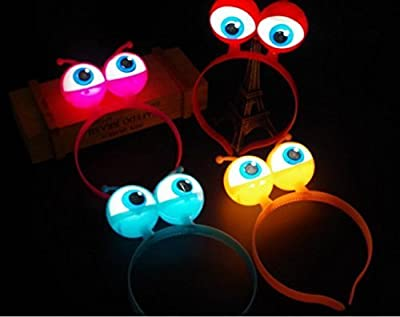 URGrace 5Pcs LED Light Up Luminous Halloween Vocal Concert Props Supplies Aliens Eyes Head Hair Hoop Band Party Decoration Adults Kids Hair Accessories Gift