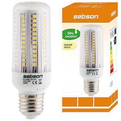 E27 108 LED [sebson®] (420lm - Warm-Weiß - 108 x 3528 SMD LED - 360º Abstrahlwinkel - E27 Sockel - 230V AC - 4W - Ø40×120mm) von sebson-media bei Lampenhans.de