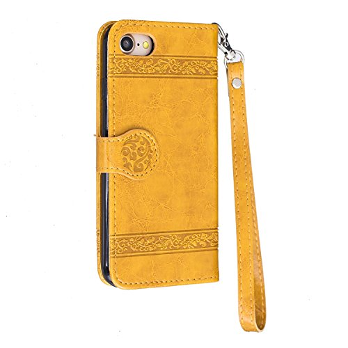 Coque iPhone 7 Rigide,Housse iPhone 7, iPhone 7 Coque Rabat,Ekakashop Rétro D'or Lotus Painting Peinture Dessin Shell Couvercle en PU Cuir Fermeture Magnetique Portefeuille Wallet Shell de Protection  D'or