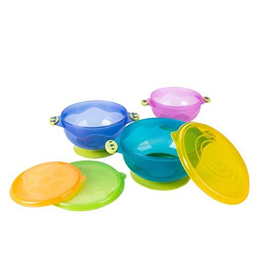 Bébé Sucker Bowl bébé aspiration d'alimentation Bols avec couvercle nourrisson supplémentaire alimentaire Vaisselle Jeu de 3 (couleur aléatoire)