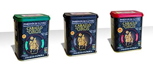 Caballo de Oros - Pimentón de la Vera D.O.P. Pack de tres sabores, Dulce, Agridulce y Picante en latas de 75 gr.