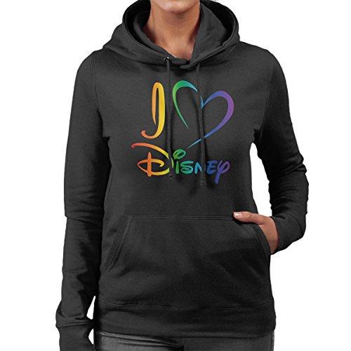 I Heart Disney Rainbow Women's Hooded Sweatshirt Black