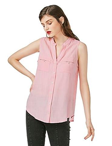 ZAN.STYLE Women's Split V Neck Sleeveless Blouse Button Cotton Tank Tops T Shirt Summer (Light Pink,