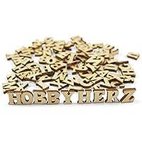 ❤️HobbyHerz ❤ ️ Hobby Corazón 100Unidades Mini de Madera Letras, 15mm de Alto, Color: Natural marrón Beige |Alphabet Juego Letras de Madera