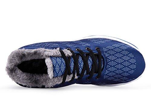 UMmaid Herren Warm Gefütterte Laufschuhe Turnschuhe Winterschuhe Outdoor Freizeit Schuhe 3.Blau