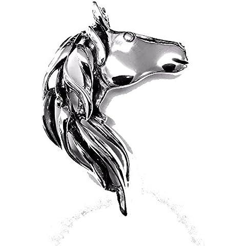 Spilla in argento Sterling, motivo: testa di cavallo