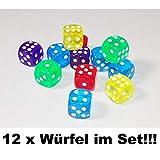 1a-becker 12x Würfel Spielwürfel Spiel Spielezubehör Knobeln Augen Cube transparent bunt