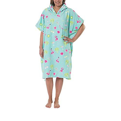 NIBESSER Bademantel Poncho für Damen, Bade-Poncho mit Kapuze, Frottee, zum Umziehen am Strand