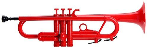 Classic Cantabile Tromba ABS Kunststoff Trompete (11,6 mm Bohrung, Monel-Ventile, Gewicht nur 550 g, inkl. 2 Mundstücken, Tasche, Ständer und Reinigungsset) rot